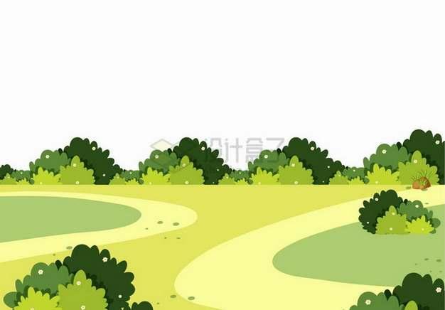 春天夏天卡通乡村草原和灌木丛风景插画png图片免抠矢量素材