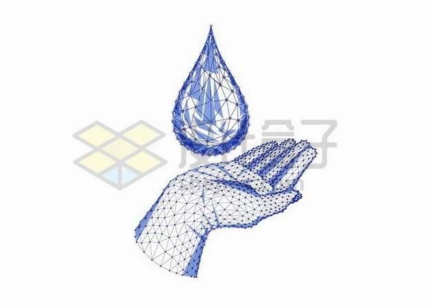 蓝色点线三角形组成的手掌和水滴png图片免抠矢量素材