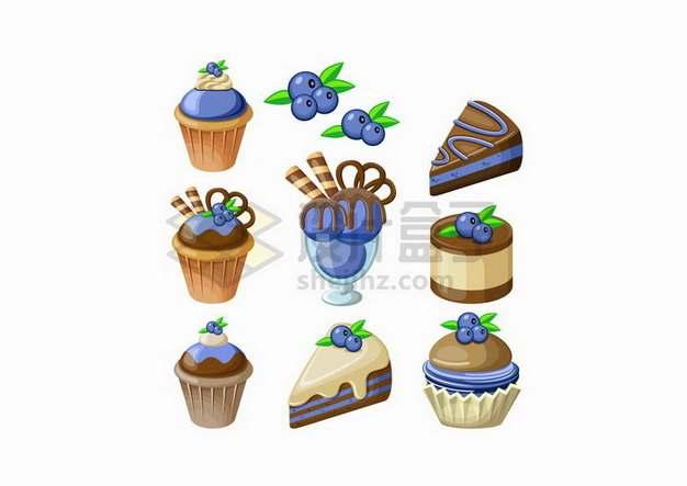 紫色蓝莓奶油蛋糕冰淇淋甜点美味美食png图片免抠矢量素材
