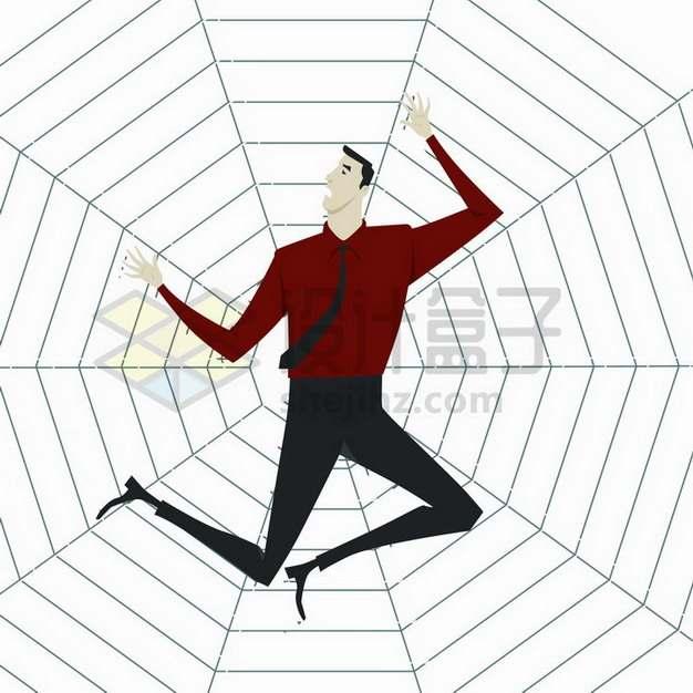 可怜的投资者粘在蜘蛛网上象征了投资风险和陷阱png图片免抠矢量素材