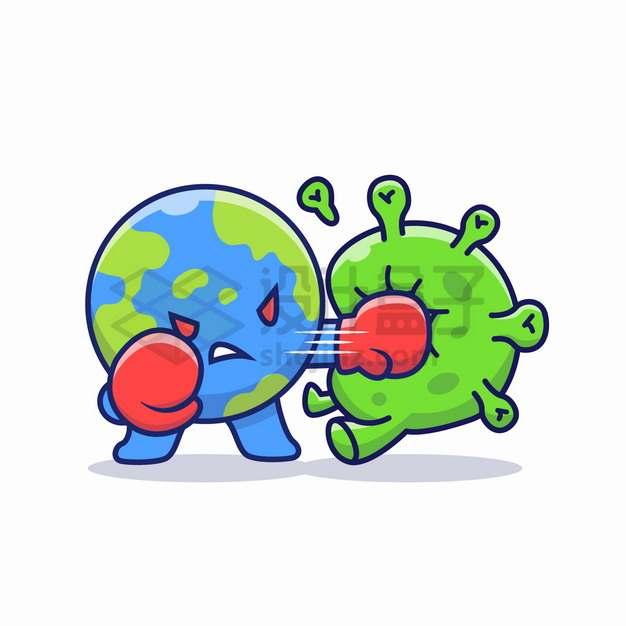 卡通地球拳击新型冠状病毒png图片素材
