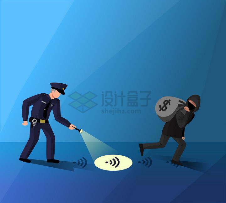 警察跟着犯罪分子留下的线索象征了网络犯罪png图片免抠矢量素材