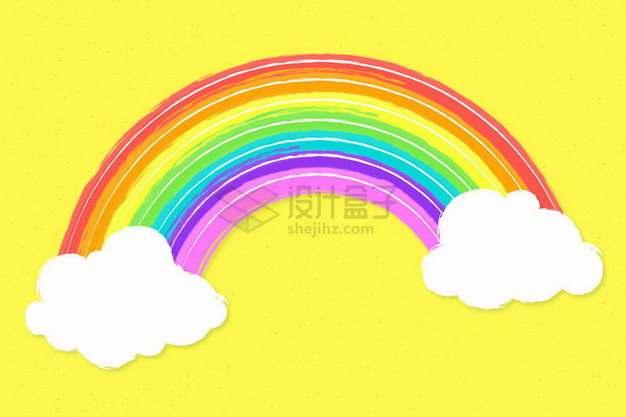 卡通白云和涂鸦七彩虹png图片免抠矢量素材
