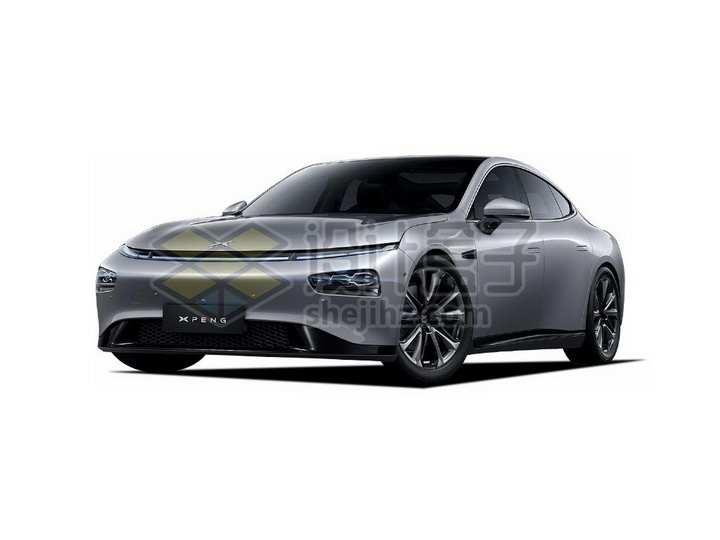 灰色小鹏P7电动汽车正面图png图片素材