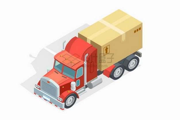 2.5D风格载重卡车运输了一个纸盒子箱子等快递物流运输工具png图片免抠矢量素材
