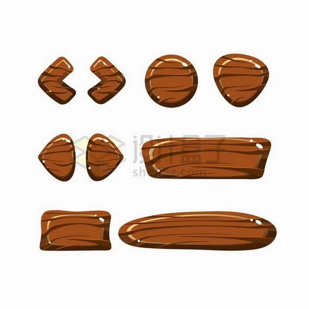 水晶风格卡通游戏按钮木头按钮png图片免抠矢量素材