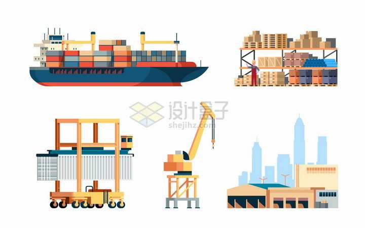 大型集装箱货轮和货架码头起重机等物流运输行业png图片素材