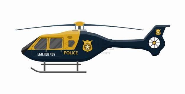 一款警用直升机侧视图png图片素材