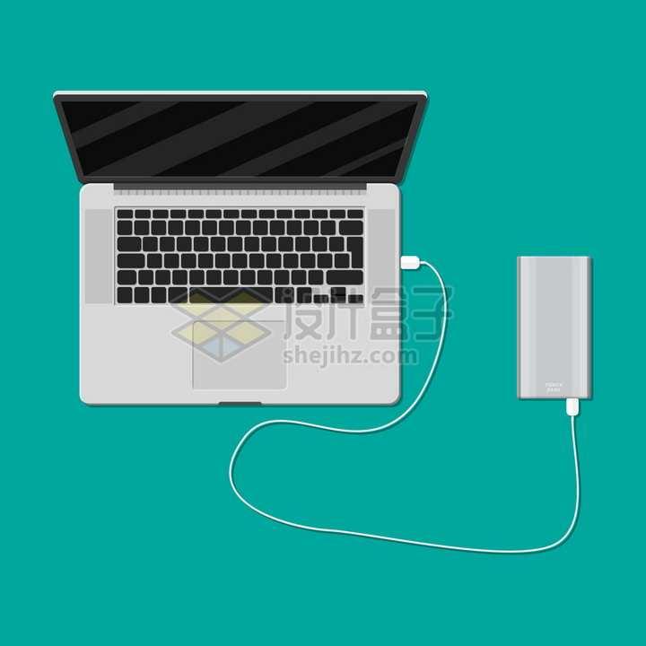 苹果MacBook Pro笔记本电脑用数据线连接移动硬盘或充电宝移动电源png图片素材