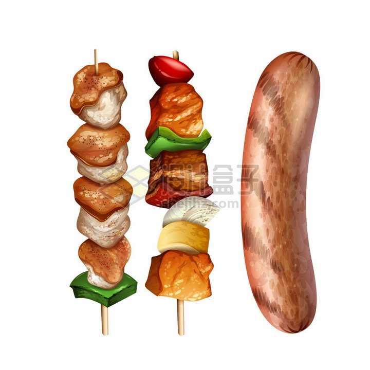 烧烤串上的美食和烤香肠png图片素材