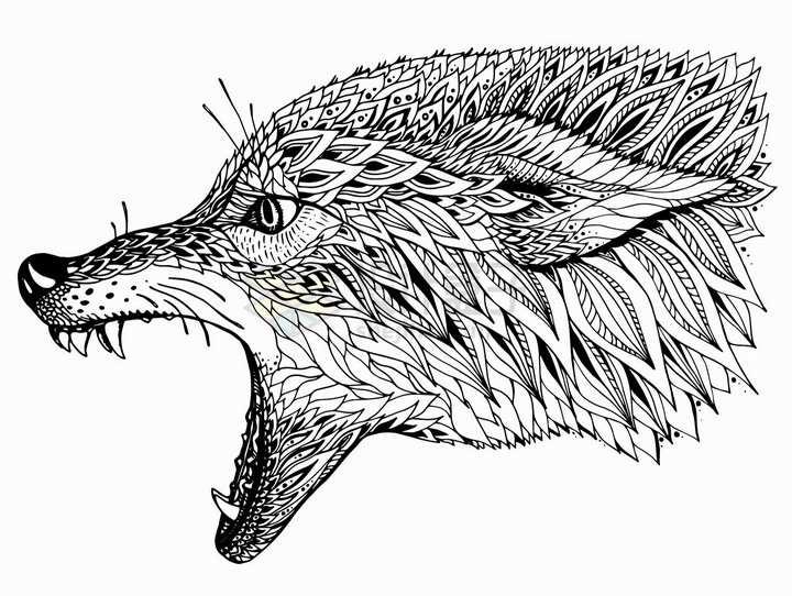 凶狠的狼头抽象图案纹理部落民族图腾png图片免抠矢量素材