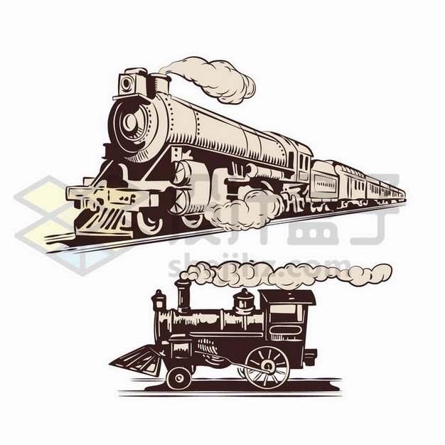2款彩绘风格复古蒸汽火车头png图片免抠矢量素材