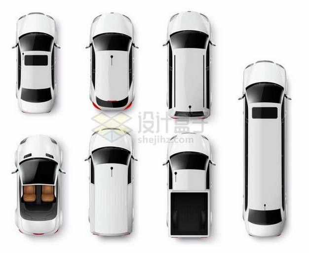各种白色汽车跑车顶部俯视图png图片免抠矢量素材