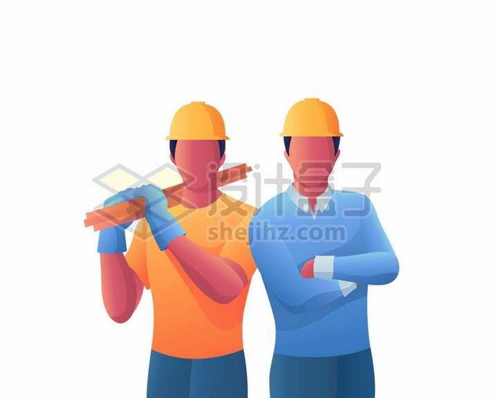 扛着木头的建筑工人五一劳动节扁平插画png图片免抠矢量素材