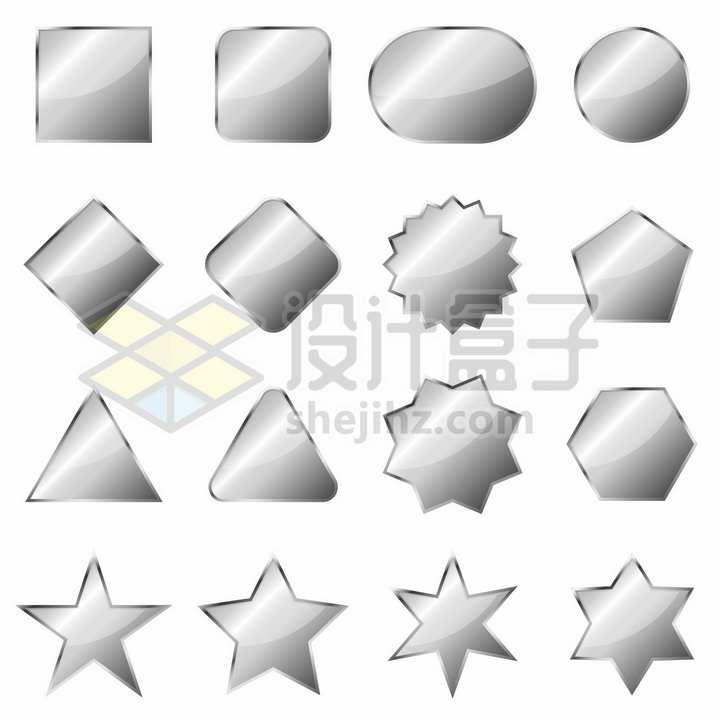方形圆形五角星三角形等银灰色水晶按钮png图片免抠矢量素材