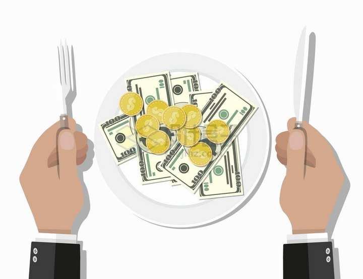 盘子中的美元钞票和金币png图片免抠矢量素材
