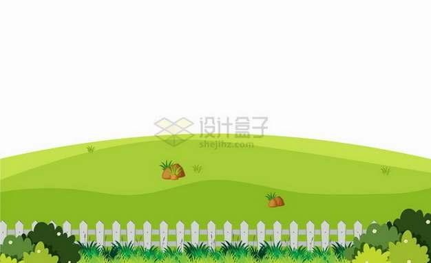 春天夏天灌木丛木栅栏和远处的青山小山坡乡村风景插画png图片免抠矢量素材