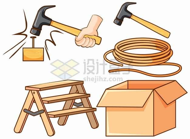 拿着榔头钉钉子梯子纸盒子绳子等卡通工具png图片素材