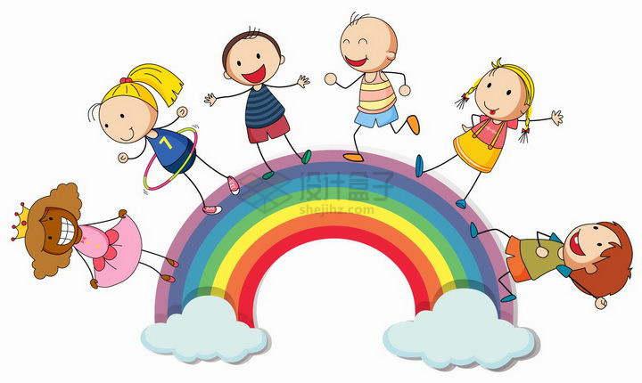 正在七彩虹上的卡通手绘儿童png图片免抠矢量素材
