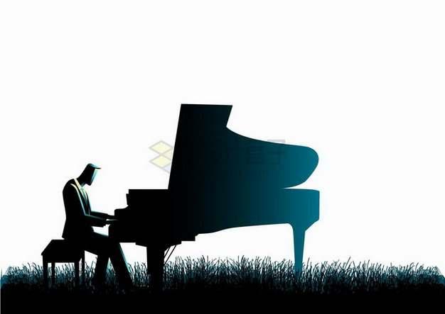 在草地上弹钢琴的男人剪影png图片免抠矢量素材