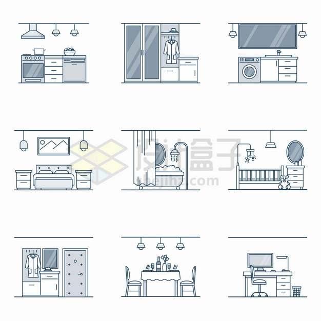 9款线条风格厨房卧室卫生间婴儿房餐厅书房等房间装修png图片素材
