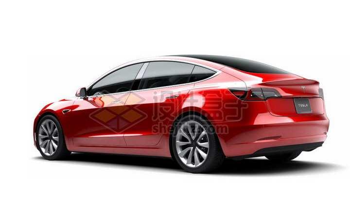 红色特斯拉Model 3电动汽车后视图png图片素材