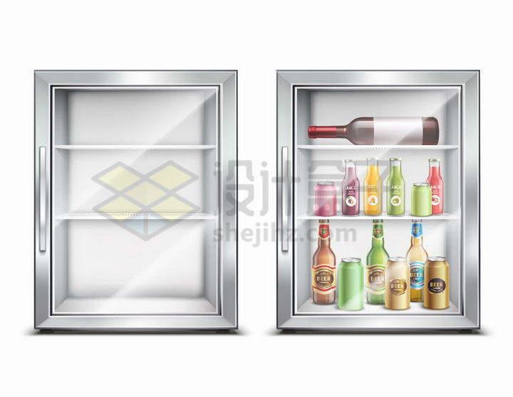 玻璃门电冰箱冰柜png图片免抠矢量素材