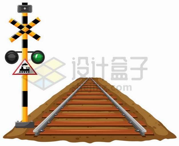 一小段铁轨和铁路信号灯设施png图片免抠矢量素材