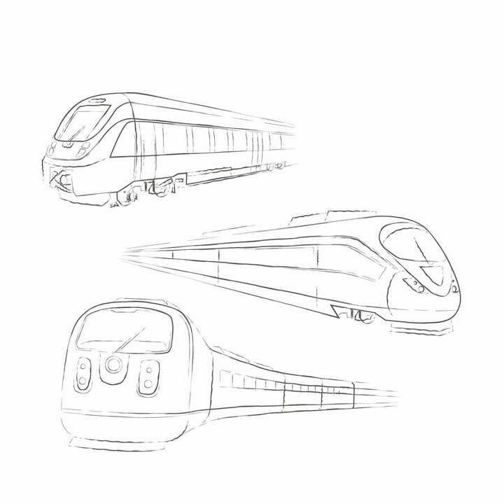 手绘线条风格的火车列车机车和高铁等交通工具png图片免抠矢量素材