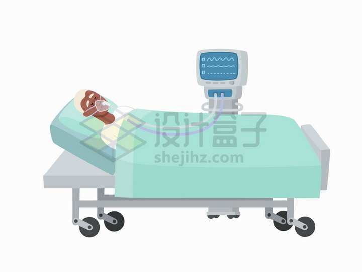 病床上使用呼吸机抢救的新型冠状病毒肺炎病人png图片免抠矢量素材