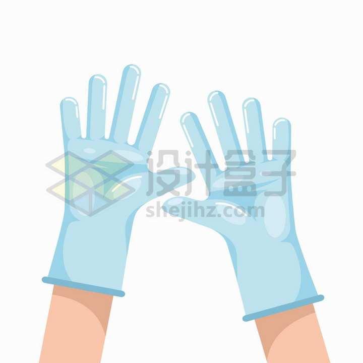 扁平化卡通风格医用手套png图片免抠矢量素材