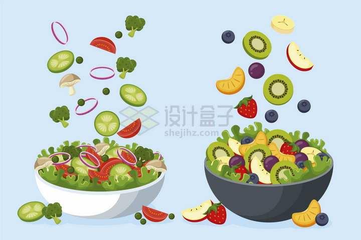 掉落到碗中的黄瓜洋葱圈西红柿猕猴桃等各种蔬菜水果色拉png图片免抠矢量素材