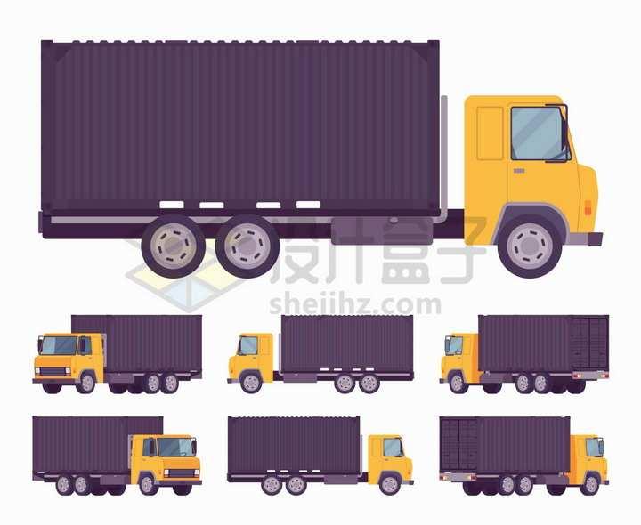 黄色的集装箱卡车侧面图png图片免抠矢量素材