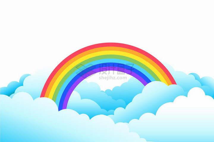 蓝色卡通云朵上的七彩虹png图片免抠矢量素材