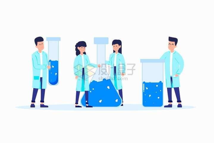 淡蓝色卡通医生和大大的试管锥形瓶等实验仪器扁平插画png图片免抠矢量素材