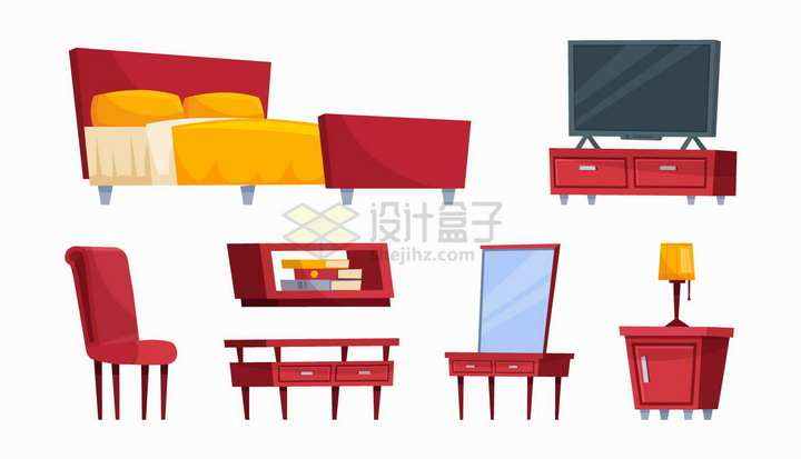 双人床电视柜椅子柜子床头柜等红色卡通家具png图片免抠矢量素材
