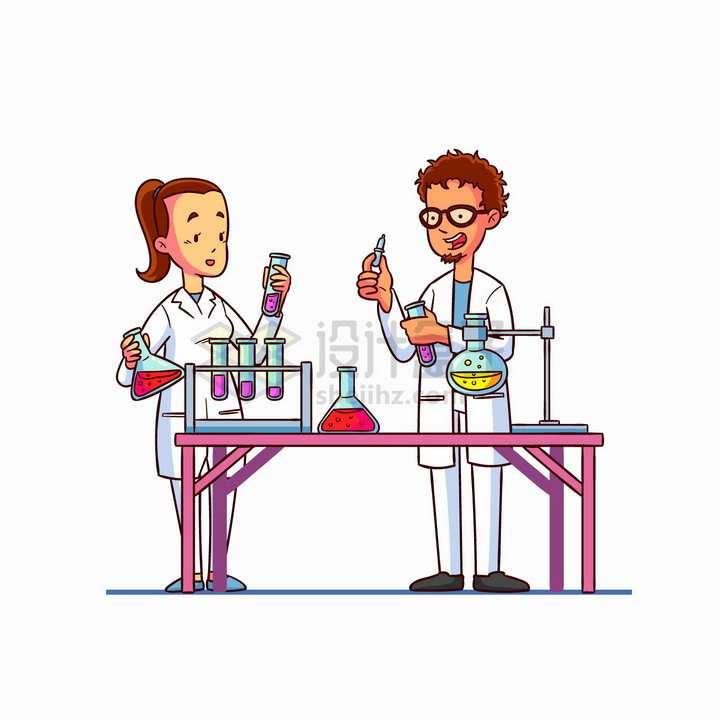 两个卡通科学家使用化学实验仪器手绘插画png图片免抠矢量素材