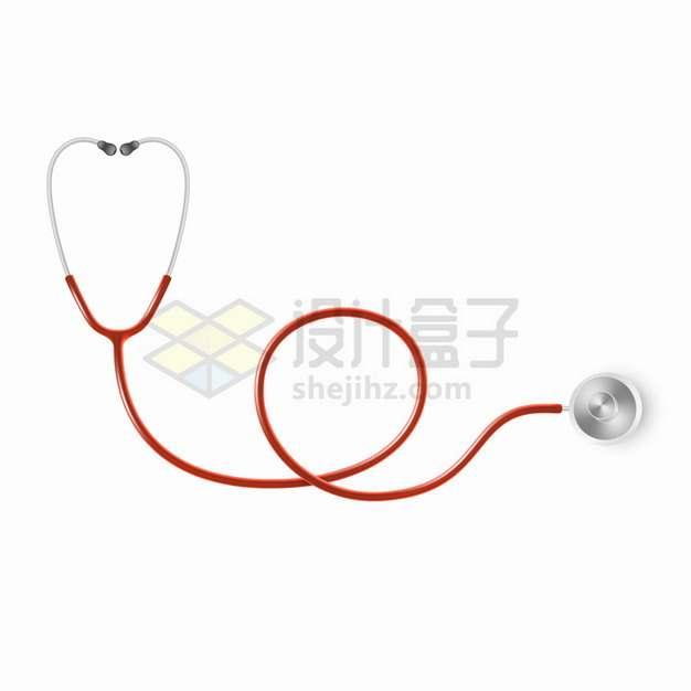 红色听诊器弯曲在一起医疗用品png图片素材