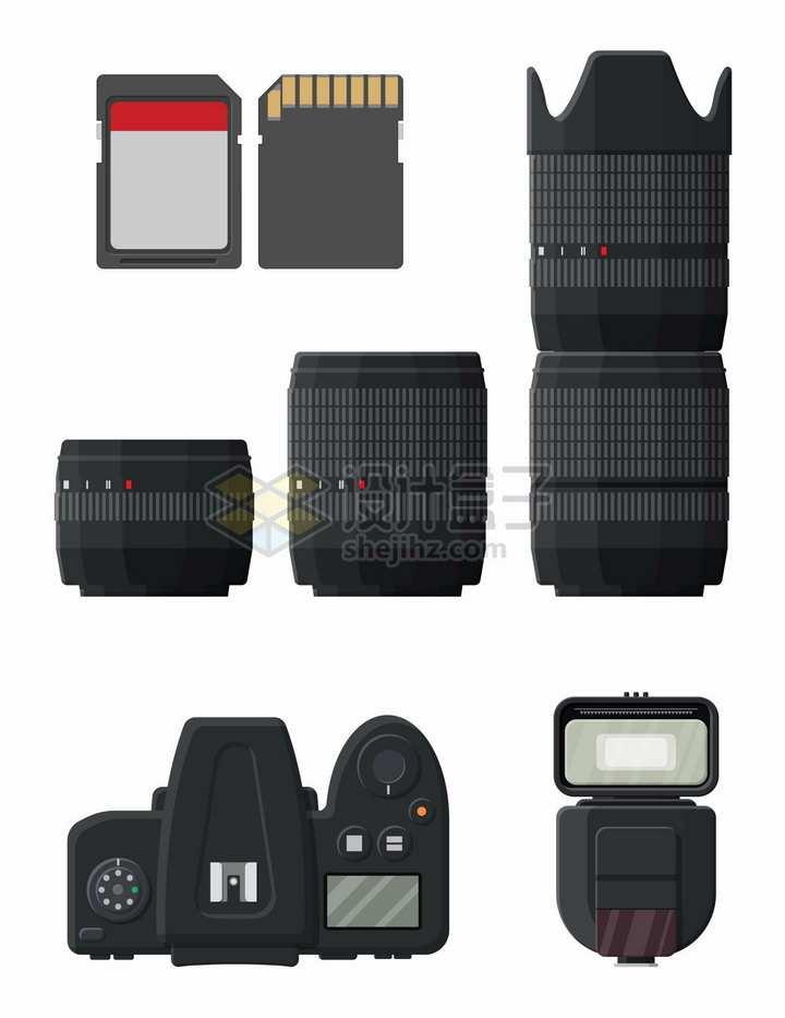 SD卡数码相机和镜头闪光灯等摄影师装备png图片素材