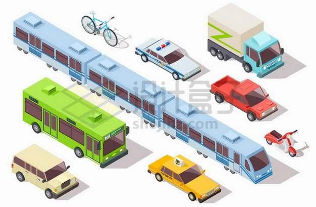 2.5D风格地铁公交车出租车警车卡车等交通工具png图片免抠矢量素材