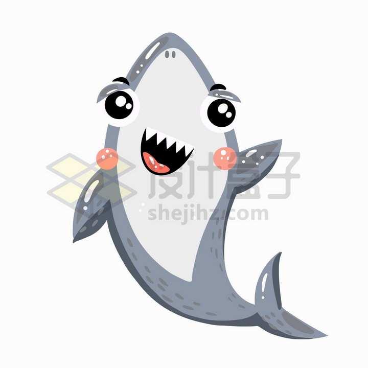 打招呼的卡通鲨鱼png图片免抠矢量素材