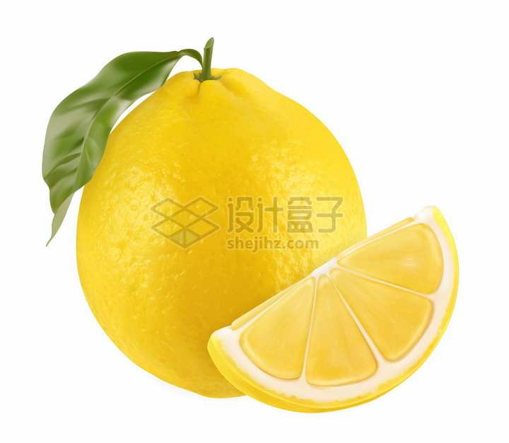 3D风格黄色柠檬新鲜水果png图片素材
