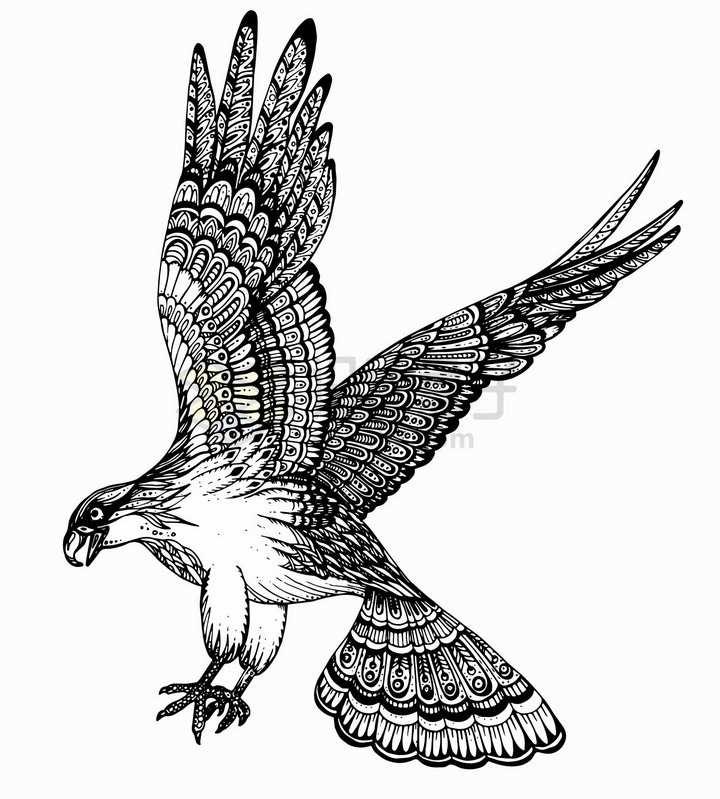 展翅高飞的老鹰雄鹰抽象图案纹理部落民族图腾png图片免抠矢量素材