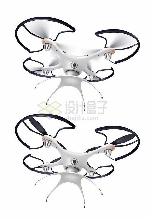 飞行中和静止中的白色四轴飞行器无人机png图片免抠矢量素材