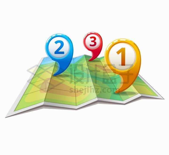 逗号风格的定位标志和展开的旅游地图png图片免抠矢量素材
