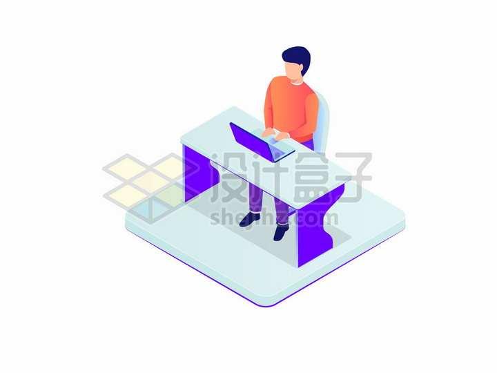 2.5D风格坐在办公桌前用电脑的商务人士扁平插画png图片免抠矢量素材