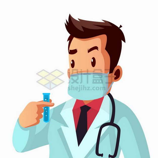 卡通医生研究试管预防新型冠状病毒疫情插画png图片免抠矢量素材