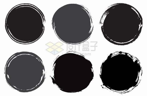 6款黑色灰色墨水涂鸦圆圈背景框png图片素材