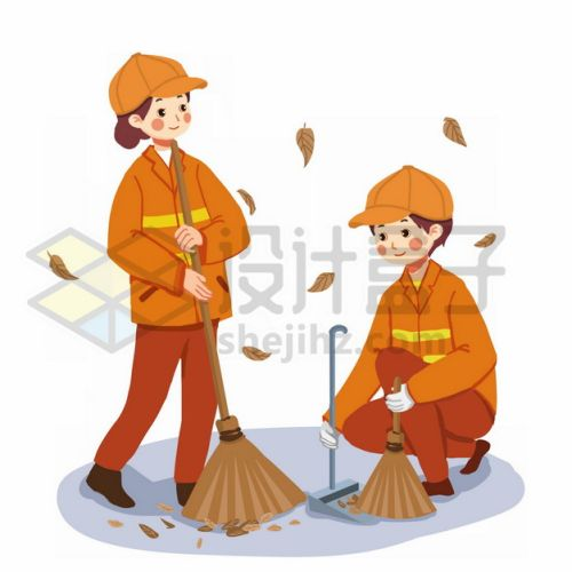 2个扫地的环卫工人五一劳动节手绘插画png图片素材