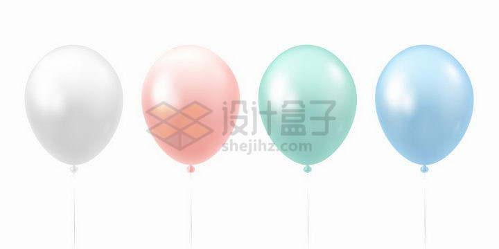 4款白色粉色绿色蓝色气球png图片免抠矢量素材
